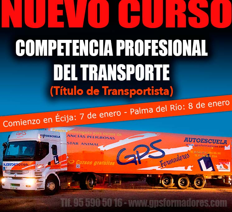 cursos Competencia profesional (Título de transportista) en Écija y Palma del Río.